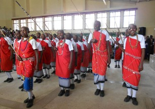 Cultural exposure motivates students. Students in a girls' primary boarding school perform a traditional dance for the Kenya Music and Cultural Festival.